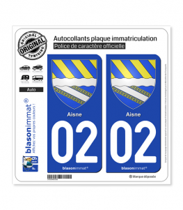 02 Aisne - Armoiries | Autocollant plaque immatriculation