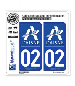 02 Aisne - Département | Autocollant plaque immatriculation
