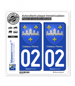 02 Château-Thierry - Armoiries | Autocollant plaque immatriculation