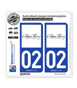 02 Château-Thierry - Ville | Autocollant plaque immatriculation
