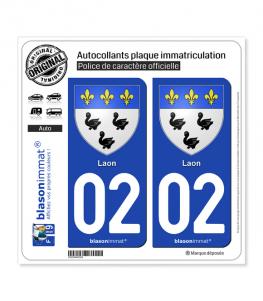 02 Laon - Armoiries | Autocollant plaque immatriculation