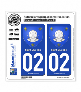 02 Saint-Quentin - Armoiries | Autocollant plaque immatriculation