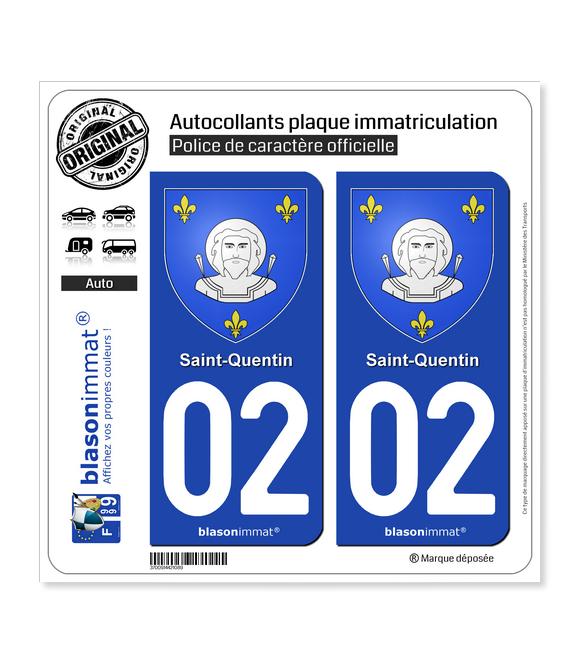 02 Saint-Quentin - Armoiries   Autocollant plaque immatriculation
