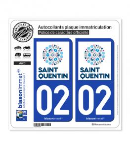 02 Saint-Quentin - Ville | Autocollant plaque immatriculation