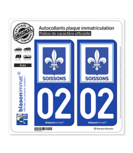 02 Soissons - Ville | Autocollant plaque immatriculation