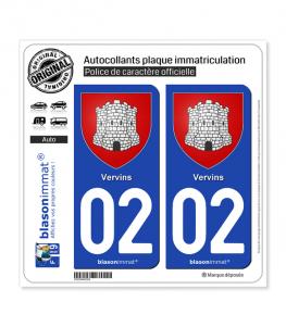 02 Vervins - Armoiries | Autocollant plaque immatriculation