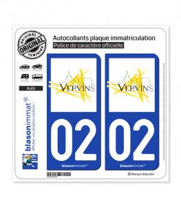 02 Vervins - Ville | Autocollant plaque immatriculation