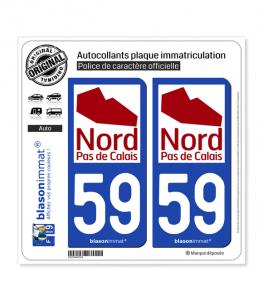 59 Nord-Pas de Calais - Tourisme | Autocollant plaque immatriculation
