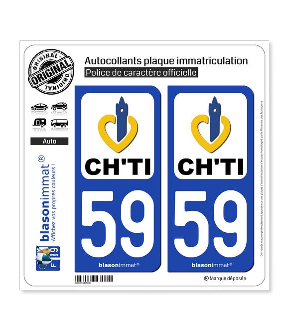 59 Nord-Pas de Calais - Ch'Ti | Autocollant plaque immatriculation