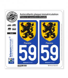 59 Flandre - Armoiries | Autocollant plaque immatriculation