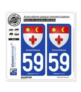 59 Armentières - Armoiries | Autocollant plaque immatriculation