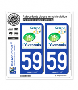 59 Avesnes-sur-Helpe - Agglo | Autocollant plaque immatriculation