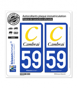 59 Cambrai - Agglo | Autocollant plaque immatriculation