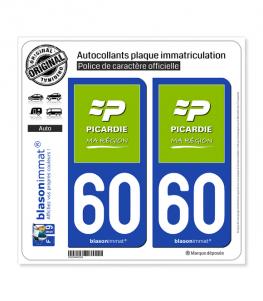 60 Picardie - Ma Région | Autocollant plaque immatriculation
