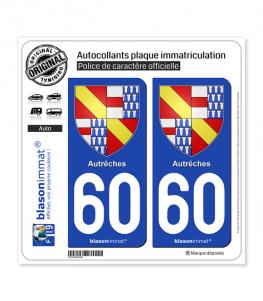 60 Autrêches - Armoiries | Autocollant plaque immatriculation