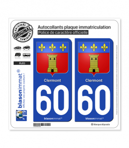 60 Clermont - Armoiries | Autocollant plaque immatriculation