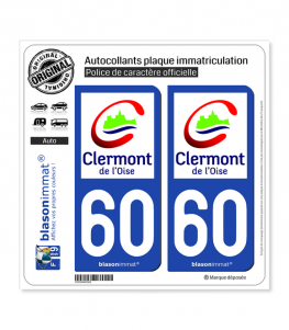 60 Clermont - Ville | Autocollant plaque immatriculation