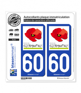 60 Clermont - Agglo | Autocollant plaque immatriculation