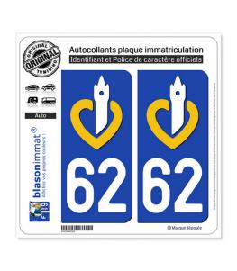 62 Nord-Pas de Calais - LogoType | Autocollant plaque immatriculation