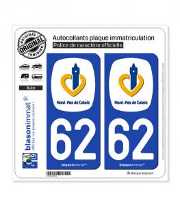 62 Nord-Pas de Calais - Région | Autocollant plaque immatriculation