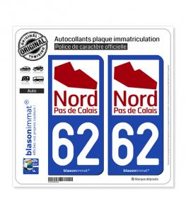 62 Nord-Pas de Calais - Tourisme | Autocollant plaque immatriculation