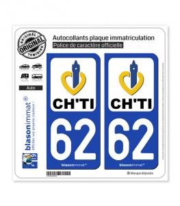 62 Nord-Pas de Calais - Ch'Ti | Autocollant plaque immatriculation