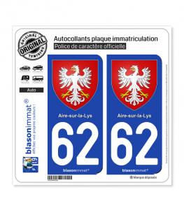 62 Aire-sur-la-Lys - Armoiries | Autocollant plaque immatriculation