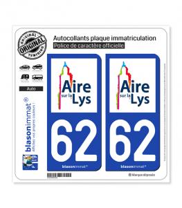 62 Aire-sur-la-Lys - Ville | Autocollant plaque immatriculation