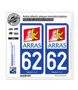 62 Arras - Ville | Autocollant plaque immatriculation