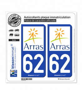 62 Arras - Agglo | Autocollant plaque immatriculation