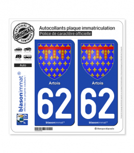 62 Artois - Armoiries | Autocollant plaque immatriculation