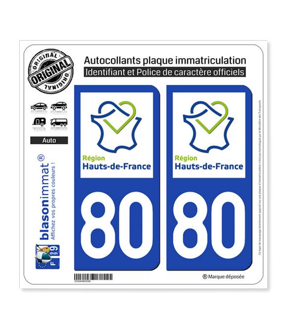 80 Hauts-de-France - LogoType | Autocollant plaque immatriculation