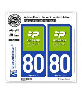 80 Picardie - Ma Région | Autocollant plaque immatriculation