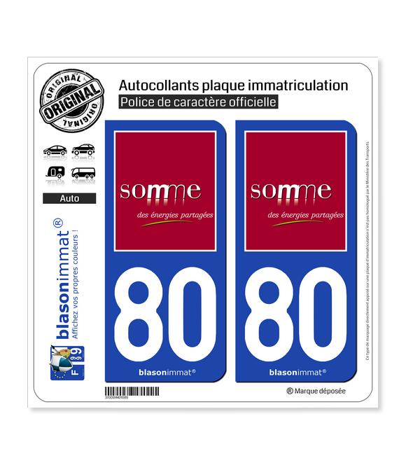 80 Somme - Département | Autocollant plaque immatriculation