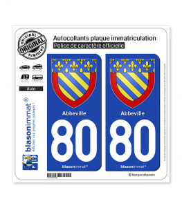 80 Abbeville - Armoiries | Autocollant plaque immatriculation
