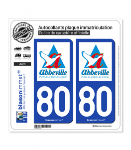 80 Abbeville - Ville | Autocollant plaque immatriculation