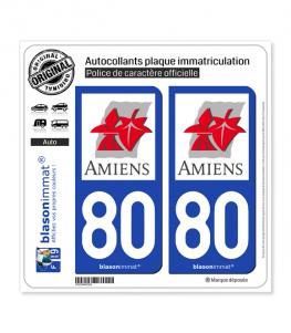 80 Amiens - Ville | Autocollant plaque immatriculation