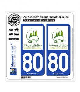 80 Montdidier - Tourisme | Autocollant plaque immatriculation