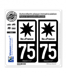 75 Ile-de-France- LogoType N&B | Autocollant plaque immatriculation