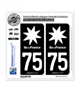 75 Ile-de-France- LogoType Black | Autocollant plaque immatriculation