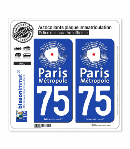 75 Paris - Métropole | Autocollant plaque immatriculation