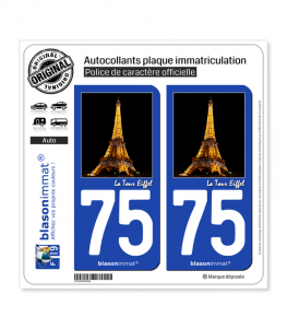 75 Paris - Tour Eiffel | Autocollant plaque immatriculation