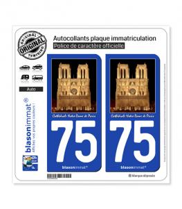 75 Cathédrale Notre-Dame - Paris | Autocollant plaque immatriculation