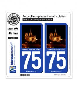 75 Cathédrale Notre-Dame II - Paris | Autocollant plaque immatriculation