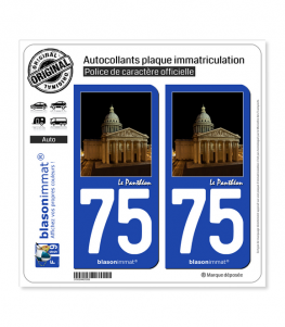 75 Le Panthéon - Paris | Autocollant plaque immatriculation