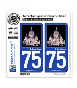 75 Sacré-Coeur - Paris | Autocollant plaque immatriculation