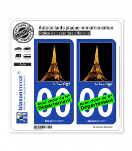 Tour Eiffel - Paris | Autocollant plaque immatriculation