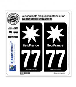 77 Ile-de-France - LogoType Black | Autocollant plaque immatriculation