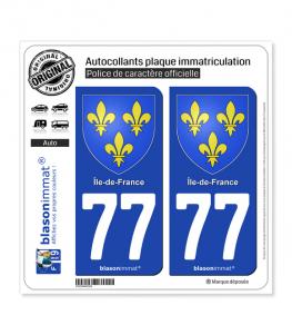 77 Ile-de-France - Armoiries | Autocollant plaque immatriculation