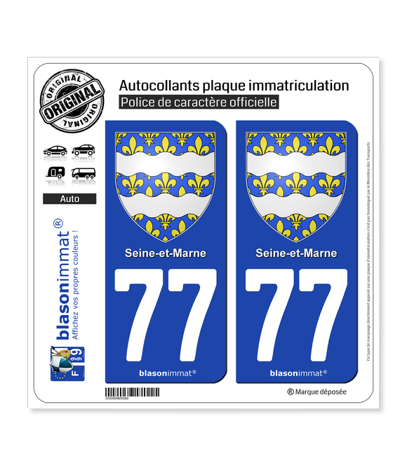 77 Seine-et-Marne - Armoiries | Autocollant plaque immatriculation